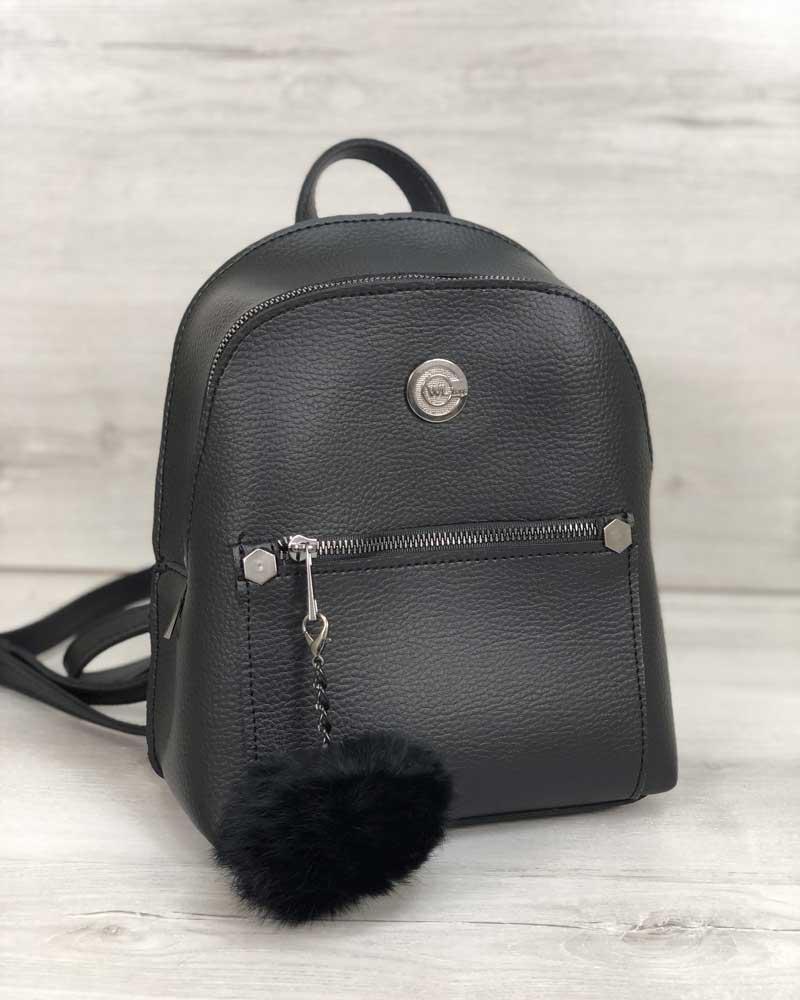 Жіночий рюкзак WeLassie «Бонні» чорний з пушком (екошкіра) 44404