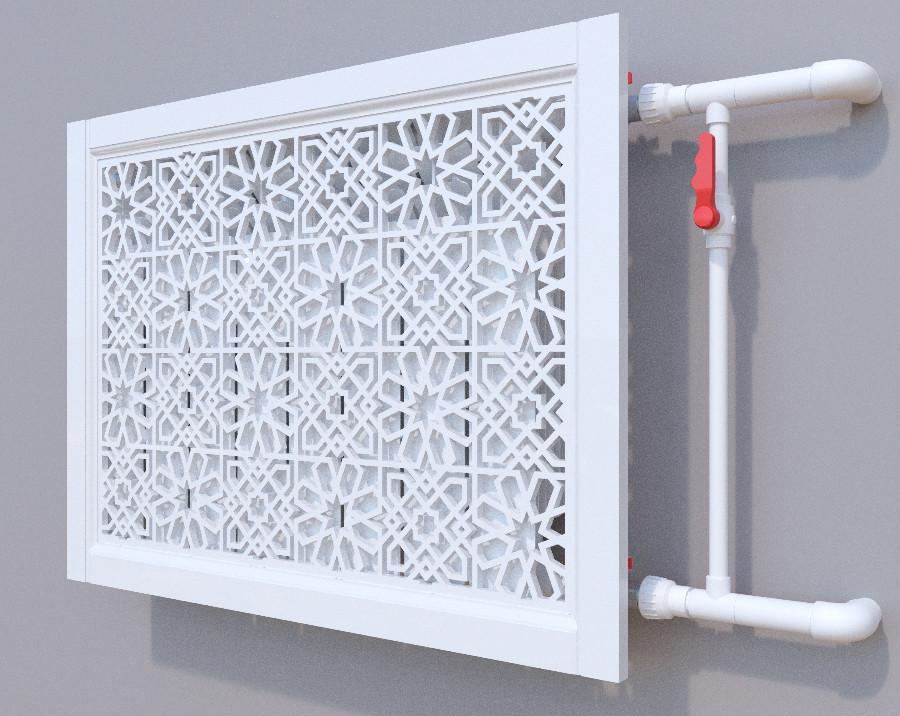 Декоративная решетка на батарею SMARTWOOD | Экран для радиатора | Накладка на батарею Короб, Грунтованная,