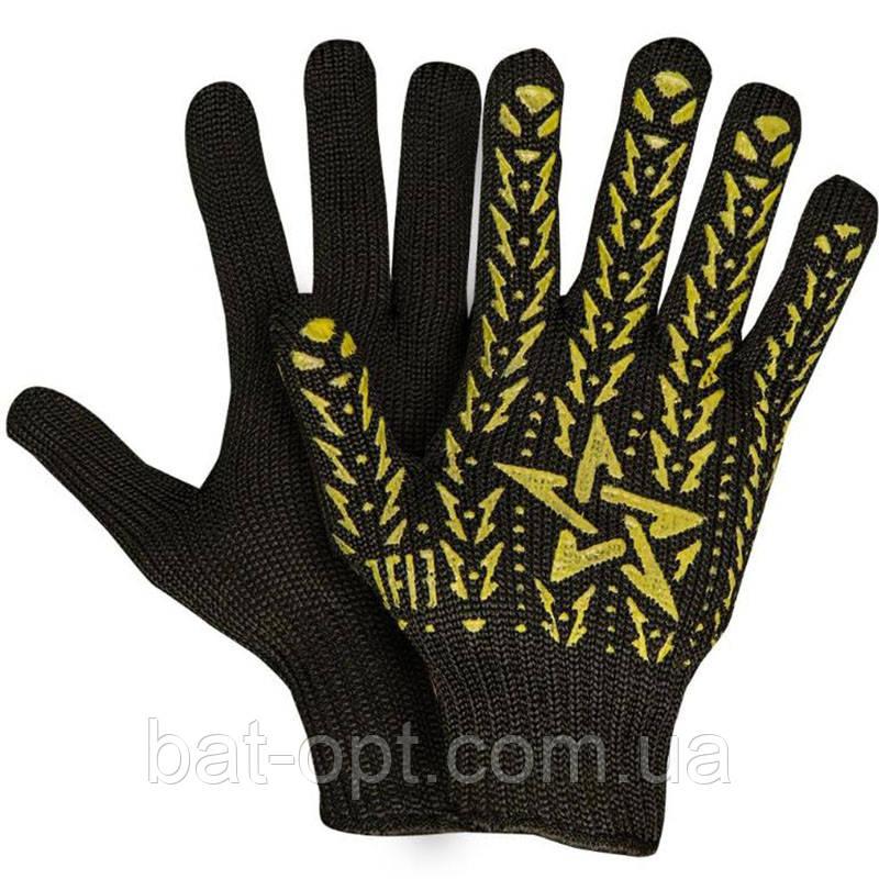 Перчатки рабочие DOLONI №562 Х/Б Черные 7 класс Звезда