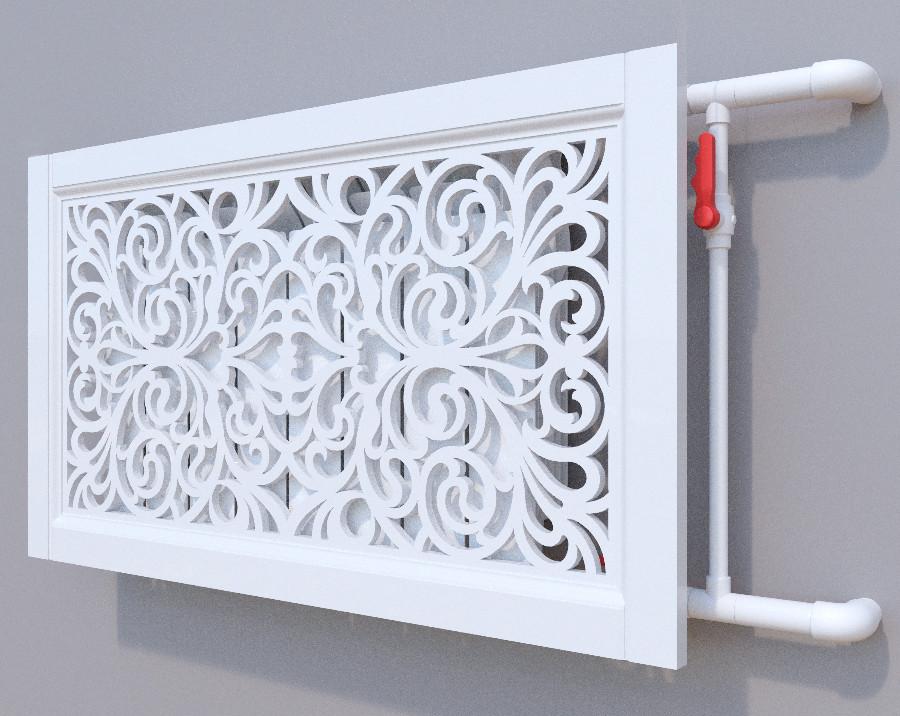 Декоративная решетка на батарею SMARTWOOD   Экран для радиатора   Накладка на батарею 600*600 Короб, Покраска