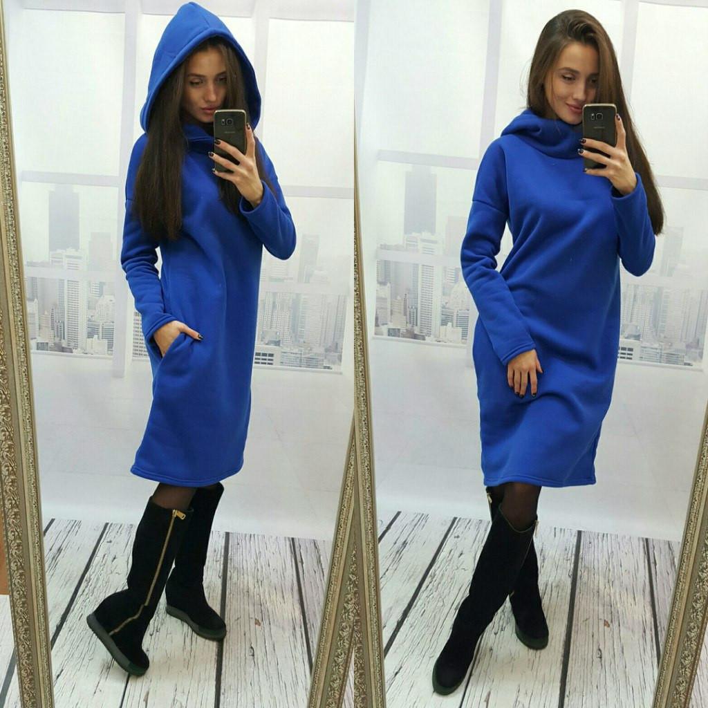 859de56fa3a8 Теплое платье с капюшоном - Aleksa - интернет-магазин женской одежды оптом  и в розницу