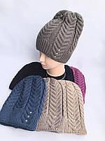 Стильная женская зимняя шапка удлиненная с флисовым подкладом, фото 1