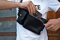 Черная кожаная мужская бананка, Поясная сумка из винтажной кожи