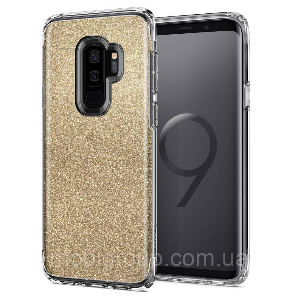 Чехол Spigen для Samsung S9 Plus Slim Armor Crystal Glitter, Gold Quartz