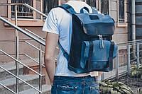 """Рюкзак кожаный  """"Калифорния""""  темно синего + джинсового цвета"""
