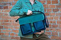 Мужская кожаная сумка - портфель  Strong черный с зеленым