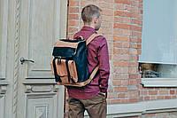 """Рюкзак кожаный  """"Калифорния"""" черного и карамельного цвета"""