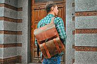 Рюкзак кожаный  Калифорния коричневого и оливкового