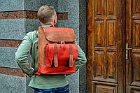 Рюкзак кожаный  Калифорния коричневого и красного цвета