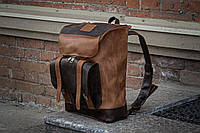 Рюкзак кожаный мужской  Калифорния коричневого и шоколадного цвета