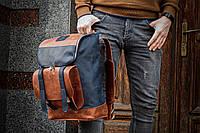 Рюкзак кожаный Калифорния джинсового и коричневого цвета
