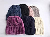 Стильная женская зимняя шапка  с отворотом подклад флис