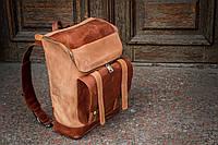 """Рюкзак кожаный  """"Калифорния"""" карамельного и коричневого цвета"""