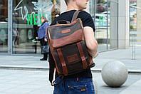 Рюкзак кожаный Калифорния коричневого и шоколадного цвета, фото 1