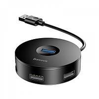 Перехідник Baseus Round Box HUB Adapter USB3.0 to USB3.0+3xUSB2.0, Чорний (CAHUB-U01)