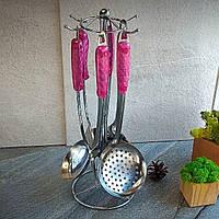 Кухонный набор принадлежностей из нержавейки на стойке HLS 7 предметов (7601), розовые ручки