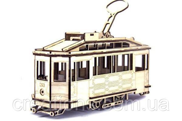 Конструктор из дерева Трамвай SANOK SW 1 со Львова 3D пазлы, игрушка для детей и взрослых