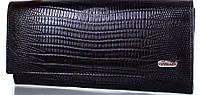Деловой  женский кожаный кошелек CANPELLINI SHI20302LZ-black черный