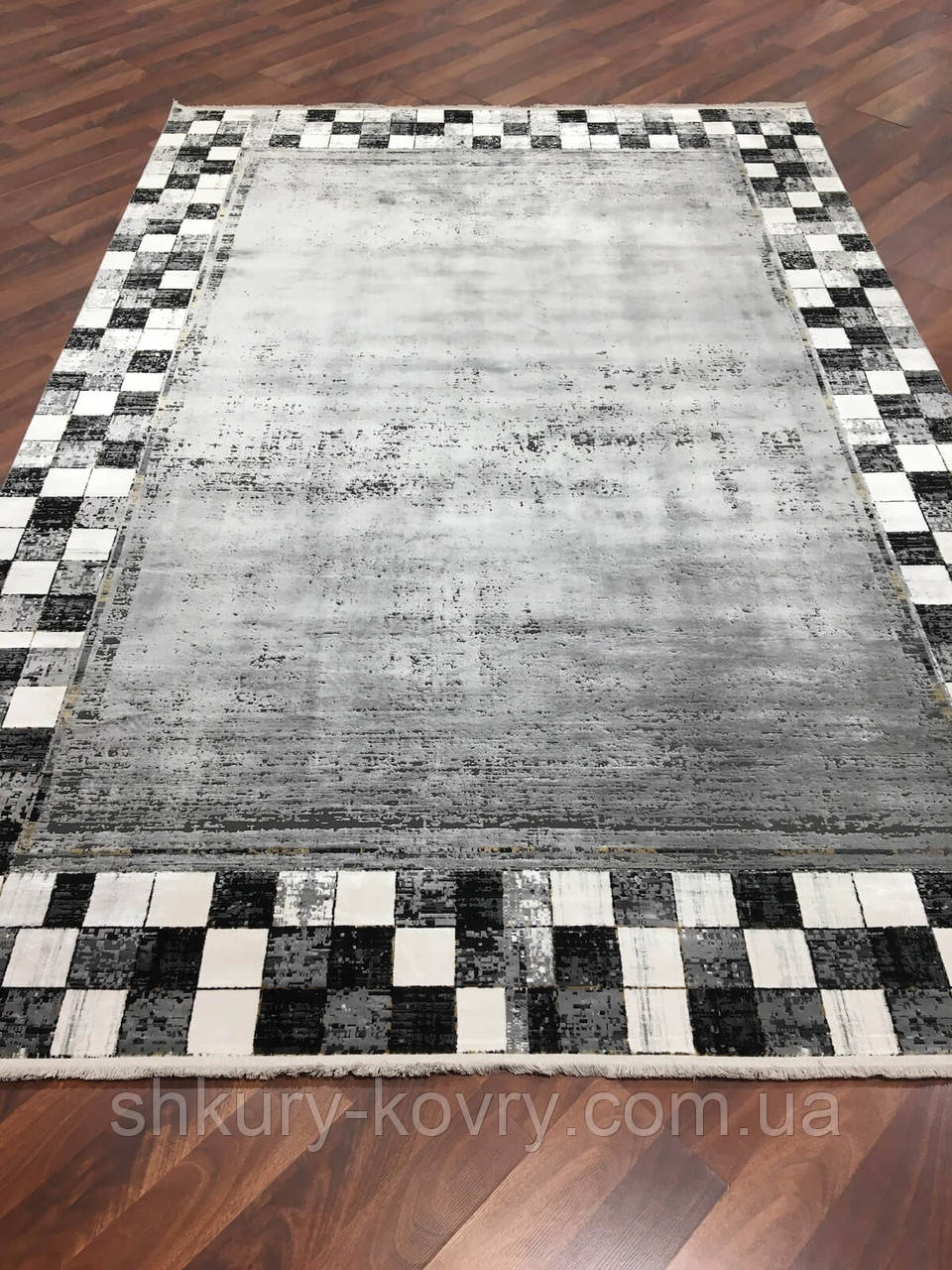 Модный молодежный ковер из бананового волокна шахматная доска