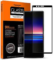 Защитное стекло Spigen для Sony Xperia 1 Full Cover, Black (G15GL26324)