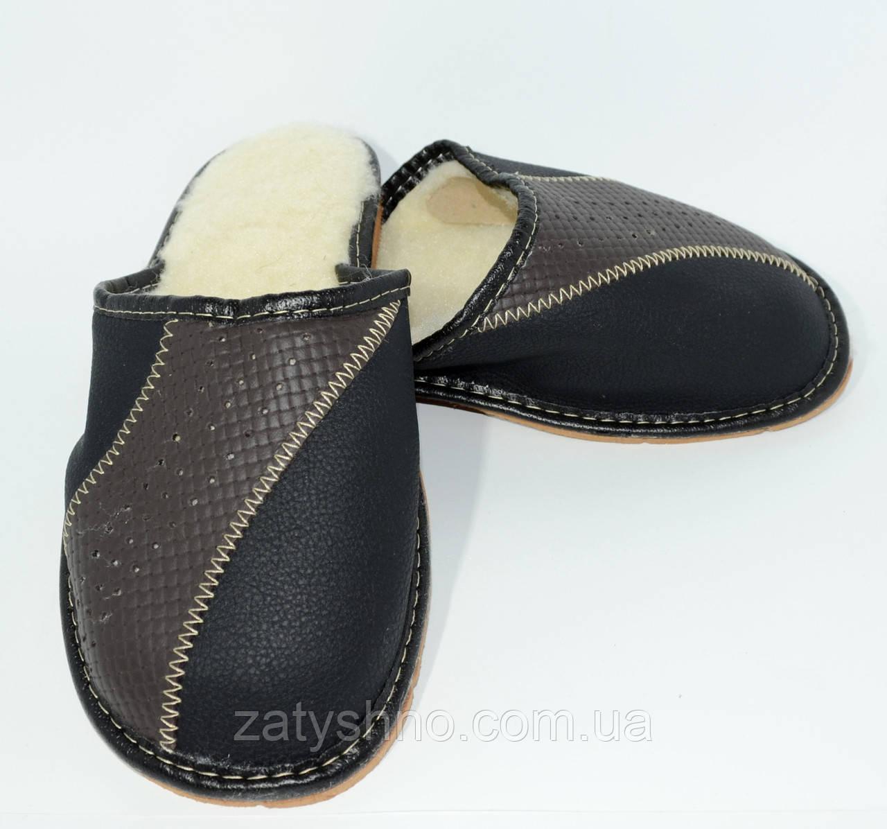 Мужские тапочки кожаные