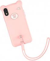 Чехол Baseus для iPhone XR Bear Silicone Case, Pink (WIAPIPH61-BE04)