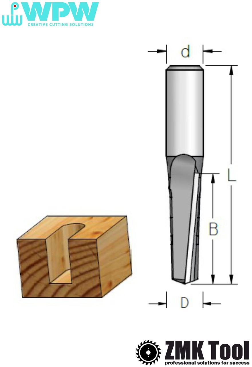 Фреза WPW прямая пазовая S=12 D=12,7x51x108 аксиальная, выброс стружки вверх