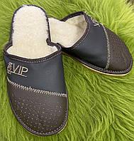 Коричневые кожаные мужские тапочки