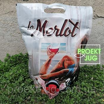 """Вино """"Мерло"""" ТМ Cotnar красное столовое полусладкое в пакете с носиком 3л"""