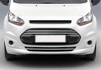 Ford Connect 2014↗ гг. Накладки на передний бампер и решетку (4 шт, нерж)