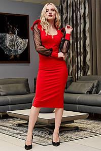 Красное платье футляр с шифоновым рукавом миди  2021 р. S, M, L, XL