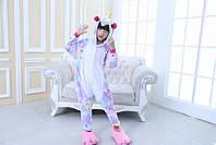 Пижама Единорог звездный разноцветный размер S на рост 145-155  кигуруми kigurumi костюм