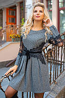 Офисное трикотажное платье с кружевом, ц. серый р. 38, 36, 40