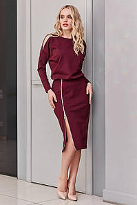 Элегантное платье карандаш из трикотажа миди весна 2021,  ц. марсала р. S, M, L, XL
