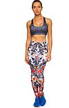 Жіночий спортивні лосини для йоги та фітнесу Domino білі з принтом розмір, фото 2