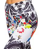 Жіночий спортивні лосини для йоги та фітнесу Domino білі з принтом розмір, фото 5