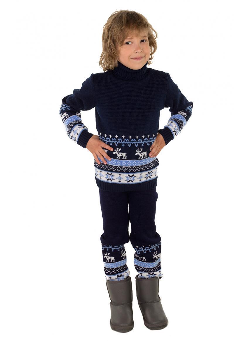 Штаны гамаши вязанные на мальчика темно-синие с рисунком