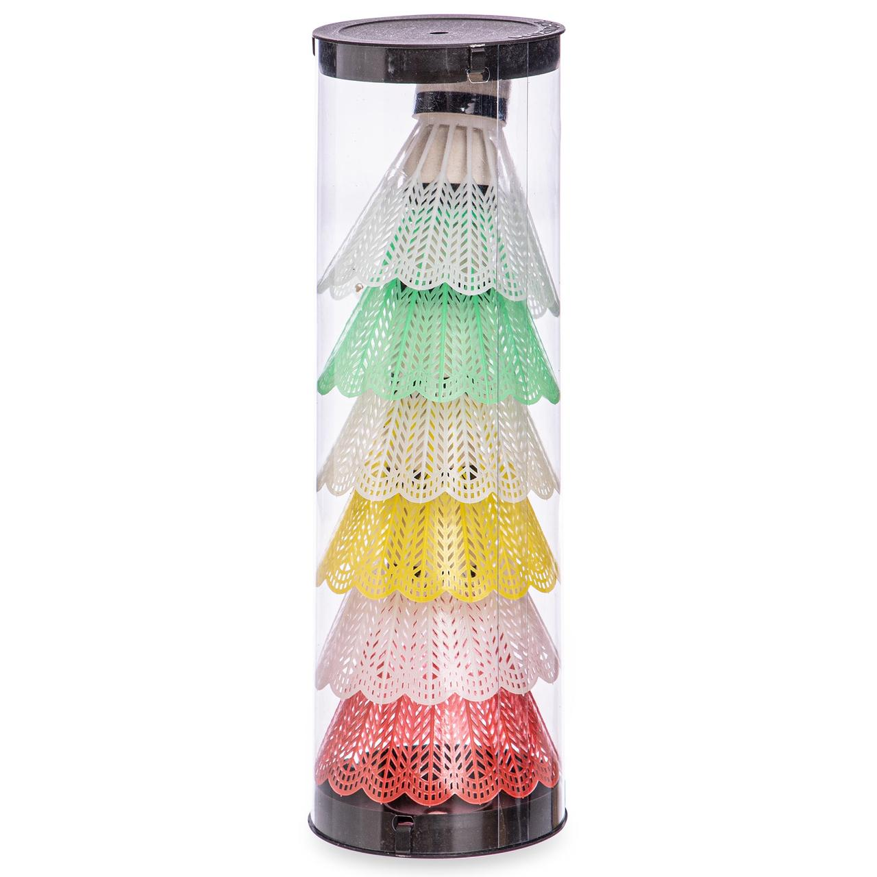 Воланы для бадминтона пластиковые (6шт) в пластиковом тубе (разноцветный)