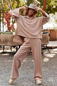 Красивый модный прогулочный костюм 2021  цвет: кофе, размер: XS-S, M-L