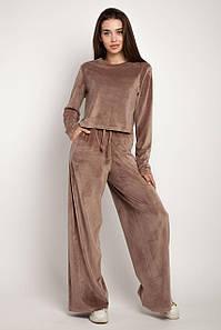 Красивый модный прогулочный костюм 2021  цвет: коричневый, размер: 42, 44, 46, 48