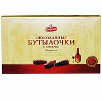 """Конфеты в коробке """"Шоколадные бутылочки с ликером"""" ТМ Спартак"""