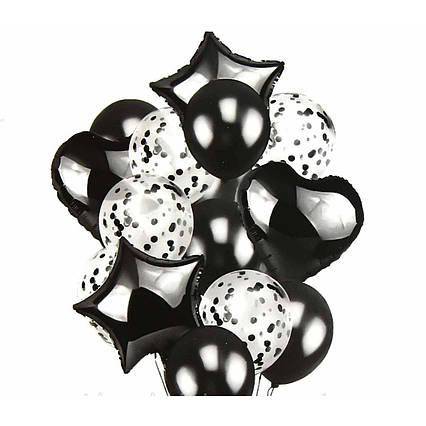 Набор фольгированных и воздушных шаров с конфетти Черный 14 шт. Китай