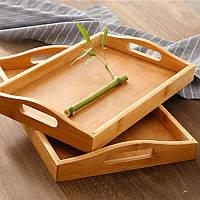 Бамбуковый поднос с ручками для завтрака Supretto 38х24 см, столик-поднос для завтрака в постель, подставка