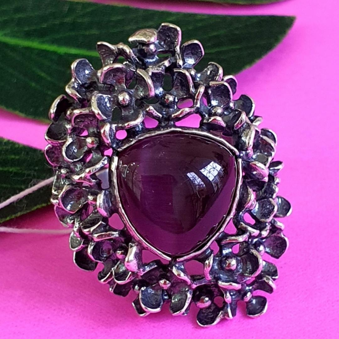 Серебряное кольцо с улекситом - Крупное женское серебряное кольцо