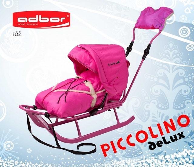 123 Санки PICCOLINO со спинкой + конверт + подножки + капюшон + муфта PICCOLINO deLux (розовый)