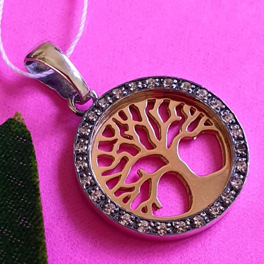 Серебряный кулон Дерево Жизни - Подвеска Дерево Жизни серебро с позолотой