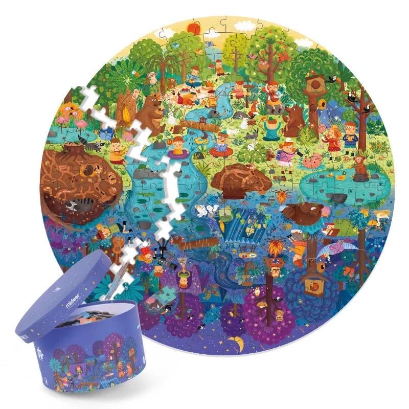 Круглый пазл в подарочной коробке  День в лесу Mideer 150 элементов