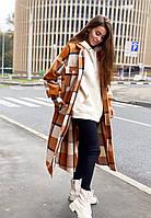 Длинное женское пальто в клетку ЛЧ 011/02, фото 1