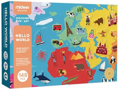 Магнитная карта Мира Hello World Mideer