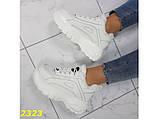 Зимние кроссовки на высокой платформе белые К2323, фото 2